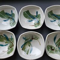 Pottery Hand Painted Salad Ramen Soup Bowls Square Set Of 6 Marked on bottom