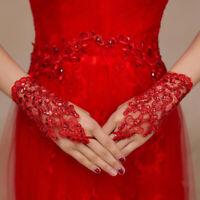Ivory Red Color Wedding Gloves Beaded Short Fingerless Bridal Gloves For Bride