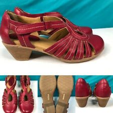 Womens SOFTSPOTS 'Sally' Berry-Red Leather Pumps Shoes SIZE 6 Wide