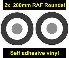 2x 200mm RAF Roundel B/W gray sticker The Who Mod Target Scooter Vespa car decal