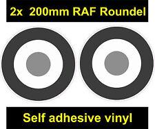 2x 200mm RAF COCCARDA B/W Grigio Adesivo che il Bersaglio Mod Scooter Vespa Auto Decalcomania
