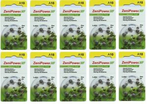 Zenipower hearing aid batteries (Size 10) - 10 cards (60 cells).