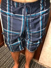 OP Mens Bathing Suit Shorts Size Medium 32-34 Blue Plaids Drawstrings Trunks