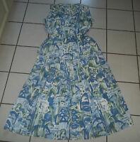 KLEID Gr. L 40 42 RETRO LOOK Blau Weiß Grün 2 Teile Faltenrock Bluse Rockabilly