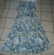 SOMMER Kleid Gr. L 40 42 RETRO LOOK Blau Weiß Grün 2 Teile Faltenrock Blusentop