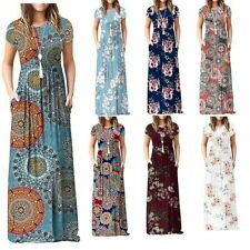 Women's Short Sleeve Boho Plain Maxi Casual Long Pockets Plus Size Floral Dress