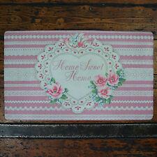 shabby chic Paillasson Bienvenue Home Sweet Home Rose bande blanche floral cœur