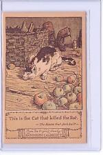 VINTAGE THE CAT THAT KILLED THE RAT RANDOLPH CALDECOTT DRAWING REPRO POSTCARD