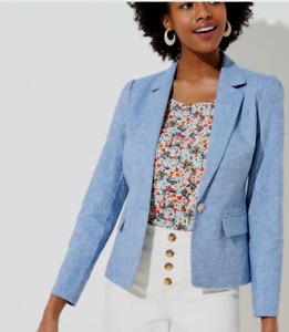 NEW Ann Taylor Loft Chambray Denim Blue Linen Blazer Suit Jacket 2