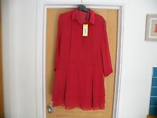 KAREN MILLEN SIZE 16 NEW WITH TAGS RED SILK LONG SLEEVED DRESS RRP £175.00