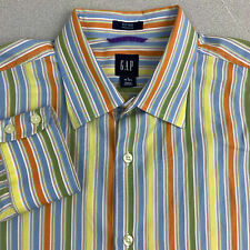 Gap Button Up Shirt Mens L Multicolor Long Sleeve Fitted Striped Colorful Shirt