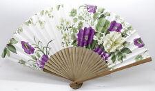 Chinese Hand Held Japanese purple Flower brocade Folding Favor Fan