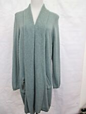 MARKS AND SPENCER WILLOW GREEN CASHMERE LONG CARDIGAN SIZE 18