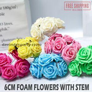 Artificial Foam 6 CM Roses Flowers With Stem Wedding Bride Bouquet Party Decor