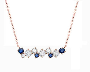 14K Rose Gold Over Blue Sapphire And Diamond Pendant Necklace With 18 Inch Chain
