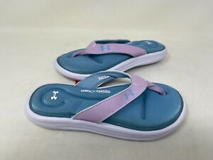 NEW! Under Armour Youth Girl's Marbella VI Thong Sandals Purple #3000073 128B tz
