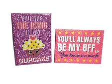 2 Creatology Glitter Plaque Wall Decor BFF Best Friends 7.25x10  Cupcake