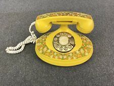 Vintage Art Deco 1973 EMPRESS Victorian Style Touch Tone Telephone Floral Yellow