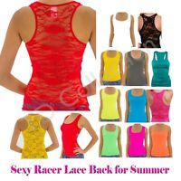 Fashion Sexy Racer Lace Back Stretch Women Tank Top Ribbed Floral Shirt T-Cami