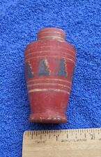 Fine EARLY? Latin American MINI VASE / BOTTLE-Red w Geometric Designs-Very Nice