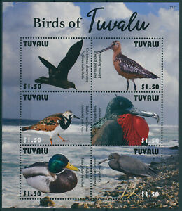 Tuvalu 2021 MNH Birds Stamps Ducks Waders Shearwater Herons Frigatebirds 6v M/S