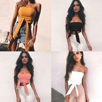 Women Summer Casual Fashion Short Sleeveless T-shirt Cotton Blouse Crop Tops