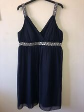 Ladies Heine Size 18 Formal Dress Beaded Sequin Empire Line Straps Chiffon Feel