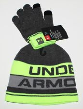 Under Armour Boys ColdGear Logo Beanie & Gloves Set Gray Lime Steel 4-6