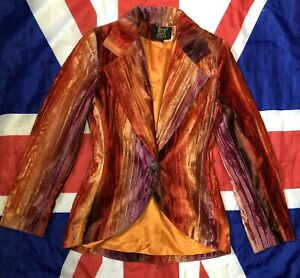 Vintage BIBA Crushed Velvet Blazer Jacket size 10 Psychedelic Hippy Groovy