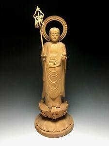 Japanese, Japan,Buddhism Jizo Bodhisattva, wooden statue Buddha 27.5cm 来