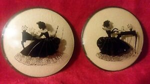 """Vintage Pair Silhouette Glass 4"""" Round Colonial Ladies seated at Desk and Piano"""