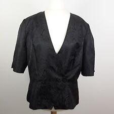 Ladies Pride Donna Nero Wrap Camicia Blusa Top con i pulsanti nella parte anteriore taglia 16