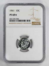 1961 PROOF ROOSEVELT DIME 10C NGC CERTIFIED PF 69* STAR UNCIRCULATED (006)