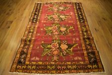 Kazak Hand-Knotted Area Rug 5 x 7 Cherry Red Roses & Birds D?cor Rug