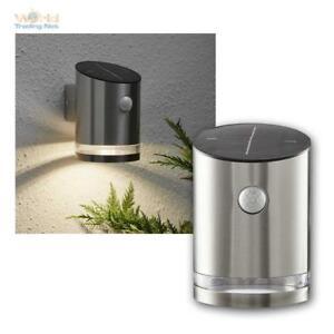 Solar Wall Lamp Light, 4 LED Warm White, Motion Sensor 65 Lumen, Stainless Steel