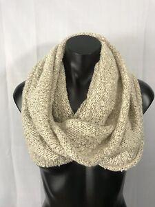 D&Y Fashion Beige Acrylic Knitted Infinity Cowl Scarf Warm Cozy Comfort Wear