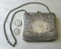 Antique Art Nouveau Floral Leaf Silver Metal Compact Card Case Clam Purse CFP