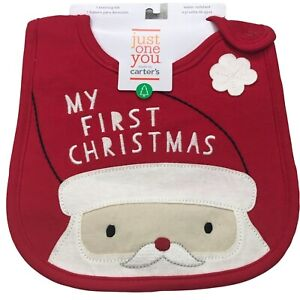 Just One You by Carter's Baby My First Christmas Santa Bib New