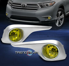2011 2012 2013 TOYOTA HIGHLANDER BUMPER YELLOW FOG LIGHTS LAMP+COVER+HARNESS KIT