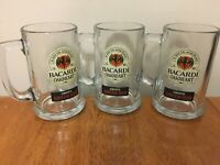 Set of 3 12oz Bacardi Oakheart Smooth Rum Beer Stein Mug Heavy Drinking Glasses
