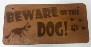 Wooden Beware of the Dog Sign, With Rustic String 10cm x 20cm MDF