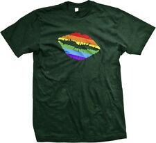 Gay Pride Rainbow Lips LGBT Lesbian Equality Prop 8 Neon Fabulous Mens T-shirt