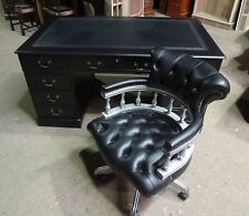 """STUNNINGLY RESTORED """"BRAND NEW"""" PAINTED BLACK 5x3 DESK & SILVER CAPTAIN'S CHAIR"""