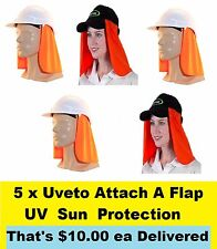 5 x Uveto Attach A Flap UV Sun Protection for Hard Hat or Cap Site work or Fish