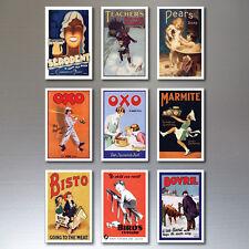 9 Vintage Rétro Affiche Publicitaire Aimants pour Réfrigérateur Art Déco No.1