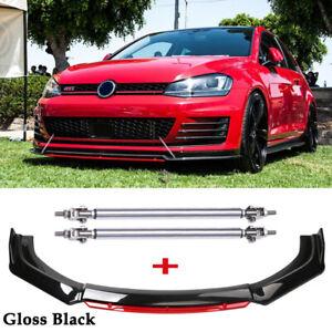For VW Golf MK5 MK6 MK7 MK7.5 GTI GTD R Front Bumper Lip Splitter + Strut Rods