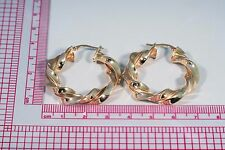 14K yellow Gold Twisted Hoop Style Earrings