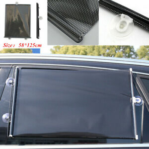 2PCS Retractable Car SUV Truck Window Glass Sun Shade Cover Blind Visor 58*125cm