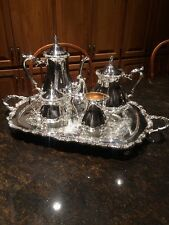 Webster Wilcox Oneida Silver Plate Coffee/Tea Pot Set Sugar Creamer With Tray
