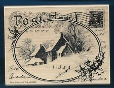 WINTER SNOW POSTCARD Landscape HOMES Post NEW X-LARGE STAMPENDOUS! Rubber Stamp